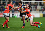 Sale Sharks wing Paolo Odogwu runs at  Saracens centre Marcelo Bosch and wing Chris Wyles during the Aviva Premiership match Sale Sharks -V- Saracens at The AJ Bell Stadium, Salford, Greater Manchester, England on November  20  2016. (Steve Flynn/IOS via AP)