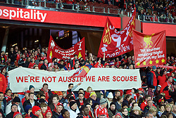 ADELAIDE, AUSTRALIA - Monday, July 20, 2015: Liverpool supporters' banner 'We're not Aussie we are Scouse' during a preseason friendly match against Adelaide United at the Adelaide Oval on day eight of the club's preseason tour. (Pic by David Rawcliffe/Propaganda)