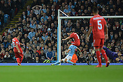 Sevilla  midfeilder Yevhen Konoplyanka slots the ball home to give Sevilla the lead during the Champions League Group D match between Manchester City and Sevilla at the Etihad Stadium, Manchester, England on 21 October 2015. Photo by Alan Franklin.