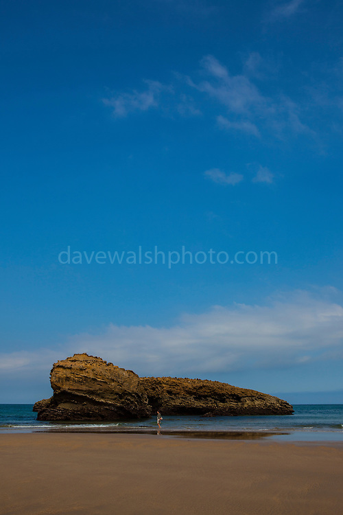 Large rock on the Grand Plage, Biarritz, Pays Basque, France