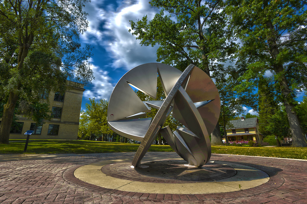 """""""Star Sphere 2010"""" by Susan Ewing stands in front of Franklin Hall as seen in this HDR Image. it is part of the """"Sculpture Walk"""" along the University Esplanade."""