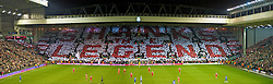 """LIVERPOOL, ENGLAND - Wednesday, December 16, 2009: Liverpool's supporters on the Spion Kop create a mosaic reading 'SHANKS THE LEGEND"""" to mark the 50th anniversary of manager Bill Shankly's arrival at the club; before the Premiership match against Wigan Athletic at Anfield. (Photo by: David Tickle/Propaganda)"""