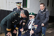 71st Anniversary of the Dieppe Raid held at Newhaven Fort, East Sussex followed by a Memorial Service at the Canadian Memorial at South Way. March of the Standard Bearers and Veterans from Denton Island to the Memorial .<br /> <br /> Alan Saunders, former Royal Marine and Dieppe Raid Veteran being greeted by the dignitaries at Newhaven Fort.