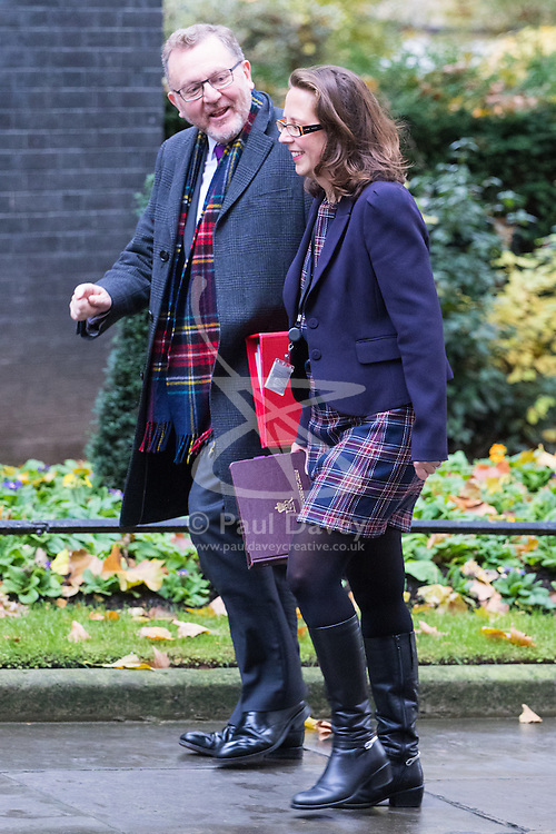 Downing Street, London, November 15th 2016.  Scotland Secretary David Mundell and Lord Privy Seal and Leader of the House of Lords Baroness Natalie Evans arrive in Downing Street for the weekly cabinet meeting.