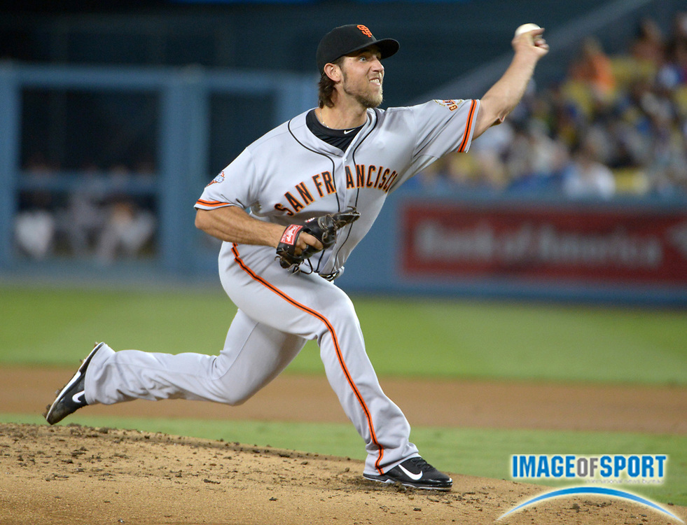 Sep 13, 2013; Los Angeles, CA, USA; San Francisco Giants starter Madison Bumgarner (40) delivers a pitch against the Los Angeles Dodgers at Dodger Stadium.