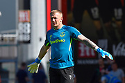 Jordan Pickford (1) of Everton warming up ahead of the Premier League match between Bournemouth and Everton at the Vitality Stadium, Bournemouth, England on 15 September 2019.