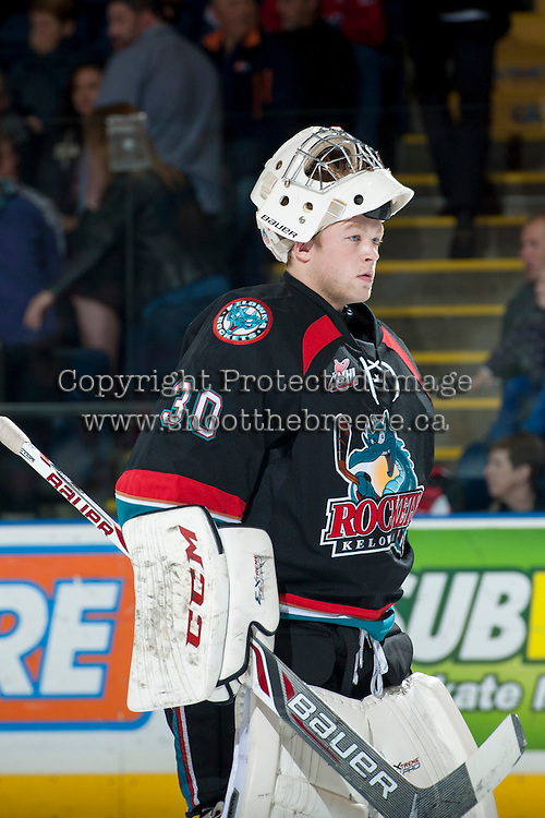 KELOWNA, CANADA - OCTOBER 19: Jordon Cooke #30 of the Kelowna Rockets skates to the net against the Prince George Cougars on October 19, 2013 at Prospera Place in Kelowna, British Columbia, Canada.   (Photo by Marissa Baecker/Shoot the Breeze)  ***  Local Caption  ***