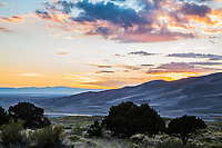 Sunset over the Great Sand Dunes National Park and the San Luis Valley, Colorado.