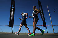 GEORGE, SOUTH AFRICA - OCTOBER 21: Chris Britz and Tumisang Pule of Athletics Gauteng North (AGN) walks in the mens 20km during the ASA Race Walking Championship at Pacaltsdorp on October 21, 2017 in Goerge, South Africa. (Photo by Roger Sedres/Gallo Images)