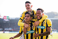NIJMEGEN, NEC - Vitesse, voetbal, Eredivisie seizoen 2016-2017, 23-10-2016, Stadion de Goffert, Vitesse speler Navarone Foor (L) heeft de 0-1 gescoord, Vitesse speler Milot Rashica (M), Vitesse speler Lewis Baker (R).