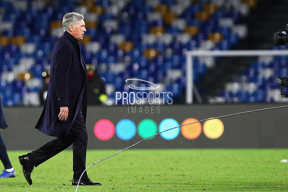 Napoli head coach Carlo Ancelotti leaves the pitch at the end of the UEFA Champions League, Group E football match between SSC Napoli and KRC Genk on December 10, 2019 at Stadio San Paolo in Naples, Italy - Photo Federico Proietti / ProSportsImages / DPPI