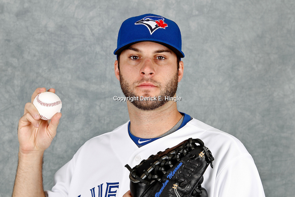March 2, 2012; Dunedin, FL, USA; Toronto Blue Jays starting pitcher Brandon Morrow (23) poses for a portrait during photo day at Florida Auto Exchange Stadium.  Mandatory Credit: Derick E. Hingle-US PRESSWIRE