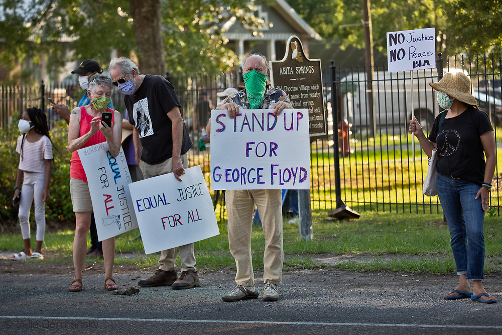 Abita Springs, LA in St. Tammany Parish on June 13, a George Floyd solidarity protest. At least one person driving by gave the protesters the finger, while many honked as they drove by in support.