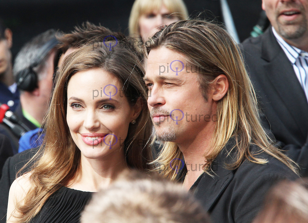 Angelina Jolie; Brad Pitt, World War Z World Film Premiere, Leicester Square London UK, 02 June 2013, (Photo by Richard Goldschmidt)