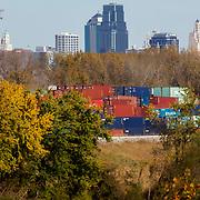 Skyline of Kansas City, Missouri in background, shipping containers in foreground, taken from Metropolitan Avenue in KCK/Kansas City, Kansas.