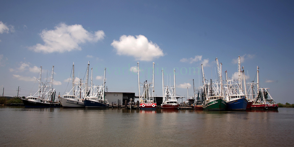 05 May 2010. Venice, Louisiana. Deepwater Horizon, British Petroleum environmental oil spill disaster.<br /> Commercial fishing and shrimp boats lie idle at the Venice marina. BP's disgraceful oil spill has forced the closure of all fishing from the west of the mouth of the Mississippi river all the way to the Florida state line.<br /> Photo credit; Charlie Varley/varleypix.com