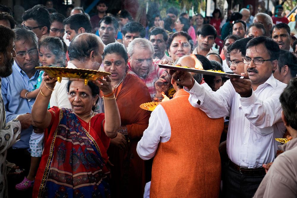 Devotees offer prayers at the 6th Ganesha Festival at Utthyan Ganesha Temple, Nakhon Nayok.