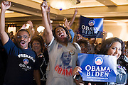 04 NOVEMBER 2008 -- PHOENIX, AZ:  Larry Simpson (CQ) his wife, Elaine Simpson (CQ) from Mesa, cheer for Barack Obama during his victory at the Democratic party's election watch party at the Wyndham Hotel in Phoenix. PHOTO BY JACK KURTZ