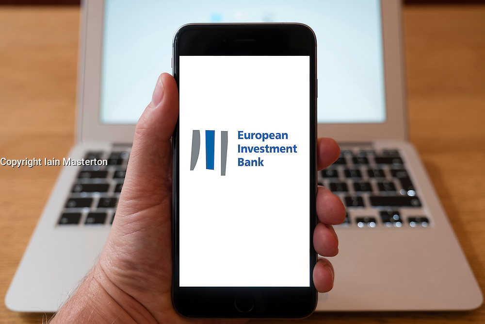 Using iPhone smart phone to display website logo of European Investment Bank