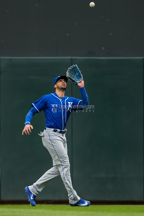 MINNEAPOLIS, MN- APRIL 5: Paulo Orlando #16 of the Kansas City Royals fields against the Minnesota Twins on April 5, 2017 at Target Field in Minneapolis, Minnesota. The Twins defeated the Royals 9-1. (Photo by Brace Hemmelgarn) *** Local Caption *** Paulo Orlando