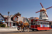 Horse Carriage Rides Past Windmill, Solvang, California