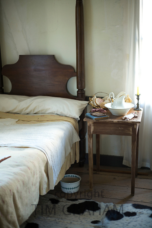 Bedroom at Vermilionville history museum of Acadian (Cajun), Creole, Native American culture, Lafayette, Louisiana USA