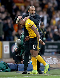 Wolverhampton Wanderers manager Nuno Espirito Santo (right) Adama Traore as he is substituted during the Premier League match at Molineux, Wolverhampton.