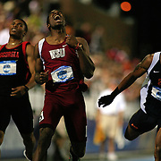 13 JUNE 2008:  Washington State's Jeshua Anderson, middle, was an upset winner in the men's 400 meter hurdles at the NCAA Division 1 Men's and Women's Track & Field Championships in Des Moines, Iowa.  At left is Georgia's Justin Gaymon, who was disqualified, and at right is Auburn's Rueben McCoy, who finished second.  David Peterson
