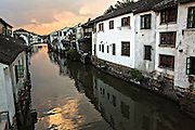 View along Shantang canal in Suzhou, China.