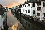 View along Shantang canal in Suzhou, China.