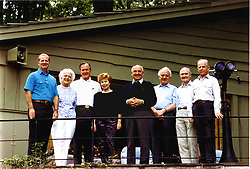 June 2, 1990 - Camp David, Maryland, United States of America - Camp David, Maryland - June 2, 1990 -- (Left to right):  James A. Baker, III, United States (U.S.) Secretary of State; U.S. first Lady Barbara Bush; U.S. President George H.W. Bush; Union of Soviet Socialist Republics (U.S.S.R.) first lady Raisa Gorbachev; U.S.S.R. President Mikhail Gorbachev; U.S.S.R. Foreign Minister Eduard Shevardnaze; U.S. National Security Advisor Brent Scowcroft; and U.S.S.R. Marshal Sergei Akhromeyev pose for a group photo during their visit to the presidential retreat Camp David, Maryland on June 2, 1990..Credit: White House via CNP (Credit Image: © White House/CNP/ZUMAPRESS.com)