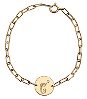 initial c gold chain link bracelet