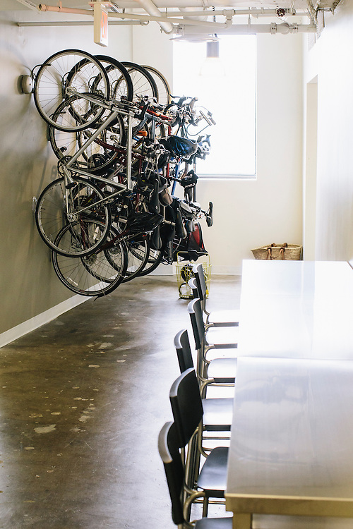 A bike rack for employees at VOX Media in Washington, D.C.
