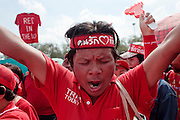 """Mar. 26, 2009 -- BANGKOK, THAILAND: An anti-government protestor cheers for the opposition during a Red Shirt rally in Bangkok Thursday. More than 30,000 members of the United Front of Democracy Against Dictatorship (UDD), also known as the """"Red Shirts""""  and their supporters descended on central Bangkok Thursday to protest against and demand the resignation of current Thai Prime Minister Abhisit Vejjajiva and his government. Abhisit was not at Government House Thursday. The protest is a continuation of protests the Red Shirts have been holding across Thailand in March.  Photo by Jack Kurtz"""