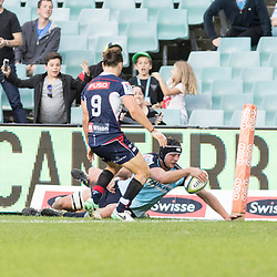 Dean Mumm scores a try for the Waratahs during the super rugby match between Waratahs and the Rebels Allianz Stadium 21 May 2017(Photo by Mario Facchini -Steve Haag Sports)