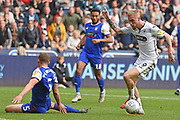 Swansea City forward Oliver McBurnie (9) skips past Ipswich Town defender Matt Pennington (5) during the EFL Sky Bet Championship match between Swansea City and Ipswich Town at the Liberty Stadium, Swansea, Wales on 6 October 2018.