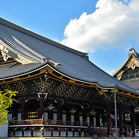 Amida and Founder&rsquo;s Hall at Higashi Honganji in Kyoto, Japan<br />