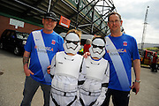 Hartlepool United fans dress as Storm Troopers arrive at Home Park for the final game of the regular  league 2 football season at Plymouth Argyle before the Sky Bet League 2 match between Plymouth Argyle and Hartlepool United at Home Park, Plymouth, England on 7 May 2016. Photo by Graham Hunt.