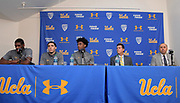 Nov 15, 2017; Los Angeles, CA, USA; UCLA Bruins forward Cody Riley (left), guard LiAngelo Ball (second from left), forward Jalen Hill (center), coach Steve Alford (second from right) and athletic director Dan Guerrero read statements during a press conference at Pauley Pavilion regarding arrest of the Hill, Ball and Riley in China for shoplifting.