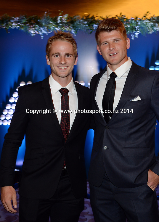 Kane Williamson and Corey Anderson pose for a picture at the 2013/14 New Zealand Cricket Annual Awards dinner at the Langham Hotel in Auckland, New Zealand. Photo: Andrew Cornaga/www.Photosport.co.nz