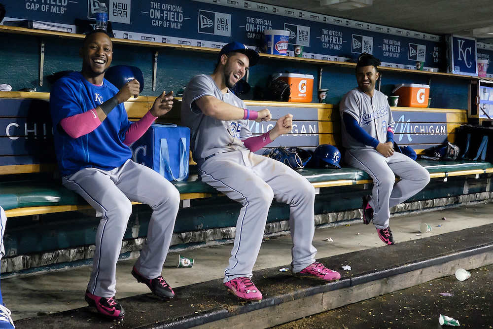 May 10, 2015; Detroit, MI, USA; Kansas City Royals right fielder Jarrod Dyson (1) first baseman Eric Hosmer (35) and third baseman Christian Colon (24) have fun in the dugout during a rain delay in the ninth inning against the Detroit Tigers at Comerica Park. Mandatory Credit: Rick Osentoski-USA TODAY Sports
