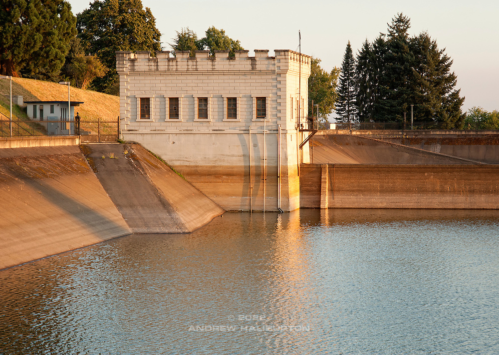 Reservoir 6 headhouse, which violates the EPA LT2 Rule, Mount Tabor Park,  Portland, Oregon, USA.