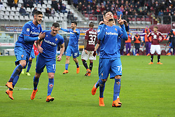 March 18, 2018 - Turin, Piedmont, Italy - Cyril Thereau (ACF Fiorentina) celebrates after scoring the penalty kick of the victory during the Serie A football match between Torino FC and ACF Fiorentina at Olympic Grande Torino Stadium on 18 March, 2018 in Turin, Italy. Final results: 1-2  (Credit Image: © Massimiliano Ferraro/NurPhoto via ZUMA Press)