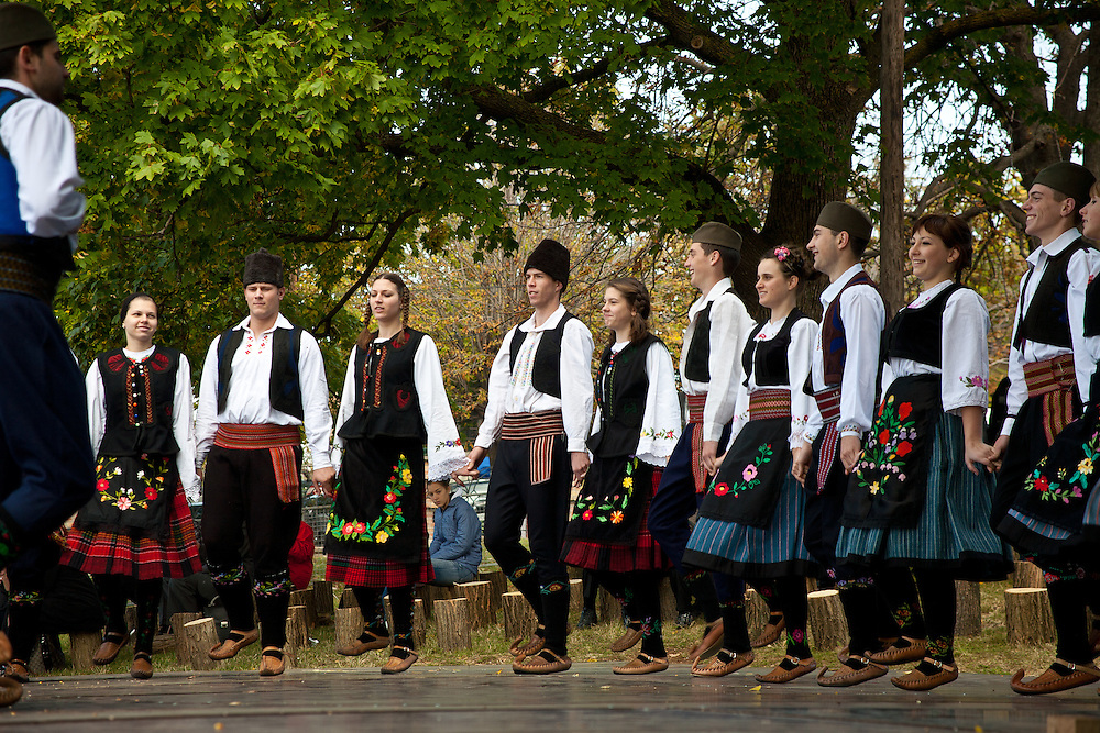 Traditional dancers perform at the Harvest, Festival, Topola, Serbia.