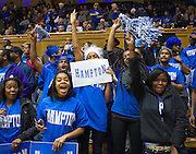 during the 2013 NCAA Women's Basketball Tournament Game between Hampton and Duke at Cameron Indoor Stadium in Durham, North Carolina.  Duke won 67-51.  March 24, 2013  (Photo by Mark W. Sutton)