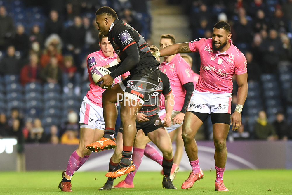 Junior Rasolea catches a kick through from Nathan Fowles to score match winning try during the European Rugby Challenge Cup match between Edinburgh Rugby and Stade Francais at Murrayfield Stadium, Edinburgh, Scotland on 12 January 2018. Photo by Kevin Murray.