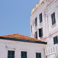The exterior of the former officers quarters at Cape Coast Castle, a UNESCO World Heritage Site located along the Gold Coast of Ghana.