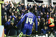 Ade Azeez of AFC Wimbledon gets an equaliser in the last few minutes during the Sky Bet League 2 match between AFC Wimbledon and Wycombe Wanderers at the Cherry Red Records Stadium, Kingston, England on 21 November 2015. Photo by Stuart Butcher.