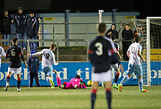 Forfar's Josh Peters (9) scores the equaliser - Forfar Athletic v Dundee, Martyn Fotheringham testimonial at Station Park, Forfar.Photo: David Young<br /> <br />  - &copy; David Young - www.davidyoungphoto.co.uk - email: davidyoungphoto@gmail.com