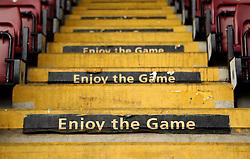 'Enjoy the Game' signs on the steps at Sixfields Stadium - Mandatory byline: Robbie Stephenson/JMP - 07966 386802 - 10/10/2015 - FOOTBALL - Sixfields Stadium - Northampton, England - Northampton Town v Hartlepool - Sky Bet League Two